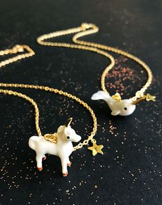 Folklore - Narwhal and Unicorn Necklaces — Eclectic Eccentricity Vintage Jewellery