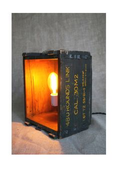 Upcycled light   Vintage Crate Light by TheSilverSteamTrunk