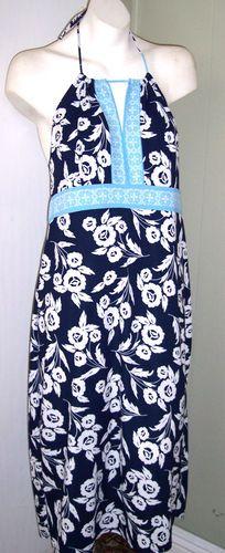 Ann Taylor Loft Dress 12 Blue Floral Stretch Jersey Knit Halter Keyhole Bust SUMMER CLEARANCE SALE FREE USA SHIPPING!