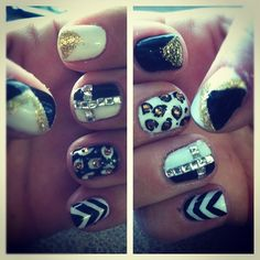 black white gold shellac nail art by misty