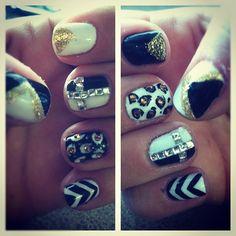 black white gold shellac nail art by misty