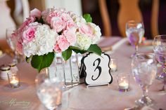 wedding centerpiece & table number