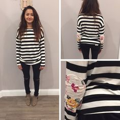 YES! We love the floral elbow patch detailing on this black and white striped top! - $32 #winterfashion #winter #ontrend #fashionista #shoplocal #aldm #apricotlaneboutique #apricotlanedesmoines #shopaldm #desmoines #valleywestmall #fashion #apricotlane #newarrival #sweaterweather #shopalb  #ootd #westdesmoines #shopaldm #shopapricotlaneboutiquedesmoines #ontrend