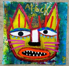"""""""Attack Cat"""" by Tracey Ann Finley Acrylic ~ 12"""" x 12"""""""
