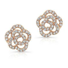 14KT Rose Gold Diamond Floral Stud Earrings (850 CAD) ❤ liked on Polyvore