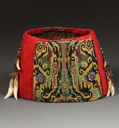 Borneo | Aristocratic Woman's Ceremonial Hat from the Kayan people, East Kalimantan | Rattan, beading, cloth, teeth | 19th/20th century