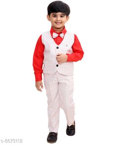 Clothing Sets Fourfolds Ethnic Wear 3 Piece Suit Set with Bow-Tie, Shirt, Trousers and Waistcoat for Kids and Boys_FC044 Top Fabric: Cotton Blend Bottom Fabric: Cotton Blend Sleeve Length: Long Sleeves Top Pattern: Checked Bottom Pattern: Checked Multipack: Single Add-Ons: Waistcoat Sizes: 4-5 Years (Top Chest Size: 25 in, Top Length Size: 17 in, Bottom Waist Size: 12 in, Bottom Length Size: 23.5 in)  5-6 Years (Top Chest Size: 26 in, Top Length Size: 17.5 in, Bottom Waist Size: 12.5 in, Bottom Length Size: 24.5 in)  3-4 Years (Top Chest Size: 24 in, Top Length Size: 16 in, Bottom Waist Size: 11.5 in, Bottom Length Size: 22 in)  6-7 Years (Top Chest Size: 28 in, Top Length Size: 18.5 in, Bottom Waist Size: 13 in, Bottom Length Size: 26 in)  7-8 Years (Top Chest Size: 30 in, Top Length Size: 19 in, Bottom Waist Size: 13.5 in, Bottom Length Size: 28 in)  2-3 Years (Top Chest Size: 23 in, Top Length Size: 15 in, Bottom Waist Size: 11 in, Bottom Length Size: 20 in) Country of Origin: India Sizes Available: 2-3 Years, 3-4 Years, 4-5 Years, 5-6 Years, 6-7 Years, 7-8 Years, 8-9 Years, 9-10 Years, 10-11 Years, 1-2 Years   Catalog Rating: ★4.2 (523)  Catalog Name: Pretty Stylish Boys Top & Bottom Sets CatalogID_1476166 C59-SC1182 Code: 247-8673112-9991