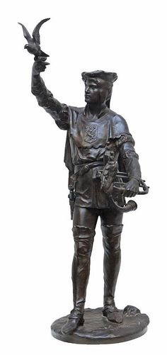 EMILE PICAULT escultura de bronce de un cetrero
