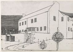 Windy Hill, perspective drawing in ink, by Charles Rennie Mackintosh Charles Rennie Mackintosh, Architecture Today, Architecture Design, Glasgow School Of Art, Perspective Drawing, House On A Hill, Art Deco, Villa, Drawings