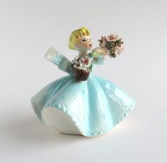 Vintage Lefton Blonde Girl in Blue with Pink Flower Basket Figurine #1450B, Mid-Century Figural Statuette by TheLogChateau on Etsy