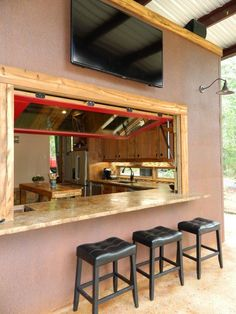 Patio kitchen pass-through window Design Ideas, Pictures, Remodel and Decor Indoor Outdoor Kitchen, Outdoor Kitchen Design, Patio Design, Outdoor Living, Patio Kitchen, Outdoor Kitchens, Indoor Bar, Patio Bar, Outdoor Cooking