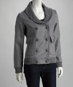 Take a look at this Heather Gray Double-Breasted Coat by Style Seeker: Women's Apparel on #zulily today!