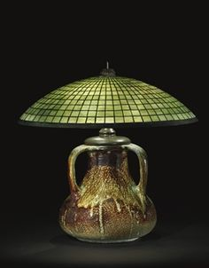 TIFFANY STUDIOS   A 'Parasol' Leaded Glass and Pottery Base, circa 1910