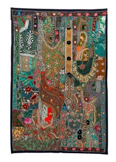Indian Handmade Beaded Tapestry-Vintgae Patchwork Tapestry - Indian Tapestry - Bohemian Style Home Decor wall hanging - door hanging For Wholesale Visit@ www.indianethnicjewelry.com Etsy Shop @ https://www.etsy.com/shop/craftsofgujarat?ref=hdr_shop_menu