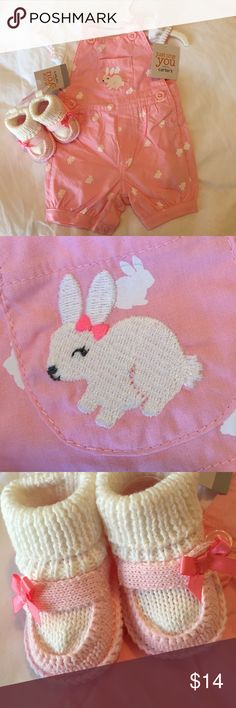 👭 [Carters] bunny outfit NWT. Precious for Easter and spring. Two pieces. Both snap in stride. Crocheted shoes included. Carter's Matching Sets