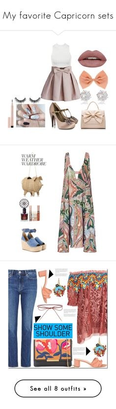 """""""My favorite Capricorn sets"""" by corazondeazucar ❤ liked on Polyvore featuring Chicwish, Forever New, Lanvin, River Island, Maybelline, bows, girly, feminine, effiminate and Paul & Joe"""