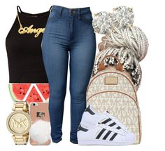 """Tuesday//School"" by slayed-fashion ❤ liked on Polyvore featuring MICHAEL Michael Kors, adidas Originals, Auriya and Michael Kors"