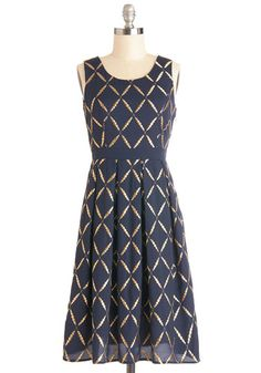 Elegant Inventor Dress. While you cant patent your own sophistication, you can make your signature style known at the trade show convention wearing this navy dress from Fever London! #gold #prom #modcloth