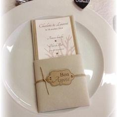 Menu table mariage original, nature, kraft, toile de jute
