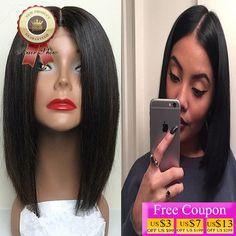 8A Grade Silky Straight Full Lace Human Hair Wig Glueless Lace Front Wigs Short Bob Straight Brazilian Virgin Hair U Part Wig