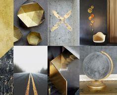 Gold & concrete minimalistic interior #gold #interior #colour