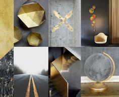 Gold & concrete minimalistic interior #gold #interior #colour
