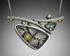 Suzanne Williams, water lily pendant, sterling silver, 18k gold, tourmaline, diamonds