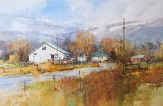 Ian Ramsay Watercolors Farm in Late Winter, Coalville , Utah x image watercolor available at Brushworks Gallery, Salt Lake City Watercolor Barns, Watercolor Images, Watercolor Trees, Watercolor Artists, Watercolor Landscape, Landscape Paintings, Watercolor Portraits, Abstract Paintings, Watercolour Painting