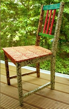 This colourful decoupage chair looks bright in paisley print. Great for indoor or outdoor use as well!