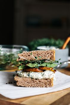 The Veggie Sandwich | Sunflower Seed Tzatziki + Golden Beets w/ Sumac + Avocado + Sprouts