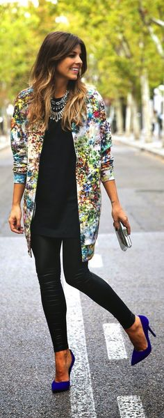 Obsessed with the vintage jacket, like the leather leggings and that shade of blue as chunk heels