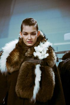 Ophelie Guillermand (Women) backstage at Fendi AW14
