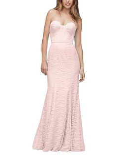 Description - Wtoo by Watters Style 194 - Full length bridesmaid dress - Modified sweetheart neckline with notch detail - Natural waistline with column skirt - Amour Lace
