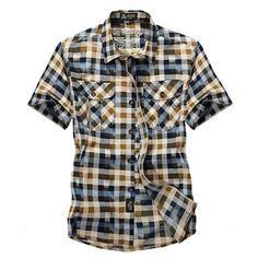 e51caaeea2ad Outdoor Sport Cotton Breathable Checked Cargo Short Sleeve Shirts for Men