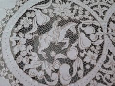 23 pc Vtg Figural Linen MADEIRA Hand Embroidered Needle lace Tablecloth Napkins    eBay