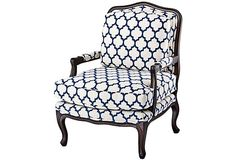 Admiral Bergère, Navy on OneKingsLane.com Potential for dragonfly chair re-upholstery