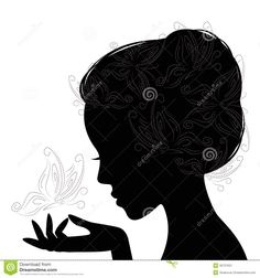 royalty free silhouette images | Profile Face Young Woman . Silhouette . Royalty…