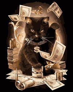 Full diamond embroidery Home Decor gift mosaic diamond Needlework cross stitch diamond Painting Count the money cat picture I Love Cats, Crazy Cats, Cute Cats, Funny Cats, Cat Club, Funny Prints, Cat Sweatshirt, Diy Painting, Cat Art