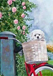 Bichon Painting - Puppy In A Basket by Joyce Lapp