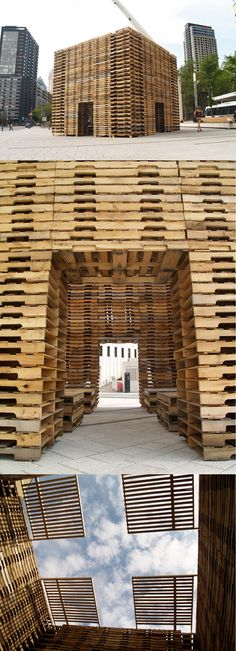 Forest II, Montreal, by Justin Duchesneau and Phil Allard: a cubic meditation space made up of 650 recycled wooden pallets http://www.escalesimprobables.com/2012/