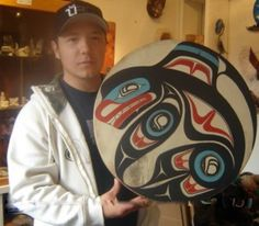 killer whale drum     Dakhl'awèdí artist Calvin Moberg pursued carving to capture his native heritage and its rich carving traditions, which was inspired by Tlingit carver Alex Dickson, and studied under renowned Yukon artists in a variety of capacities leading him to work with wood and ivory.
