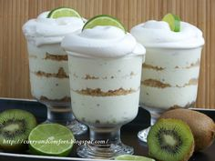 Kiwi-Lime mini trifles, involves cream cheese and cool whip, along with more usual ingredients