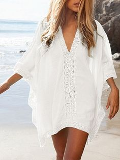 Shop White Oversize V-neck Poncho Beach Cover Up from choies.com .Free shipping Worldwide.$16.9
