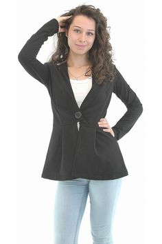 Black casual jacket with long sleeves. The jacket is with deep V-shaped cleavage. The model is with one button on the waist. The jacket is appropriate for work and everyday wear.