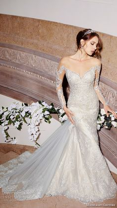 MOONLIGHT COUTRE #bridal spring 2016 wedding dresses gorgeous mermaid gown off the shoulder long sleeves scallop neckline lace embroidery chapel train h1299