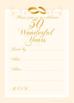 Free 50th wedding anniversary invitations printable 50th free 50th wedding anniversary invitations templates stopboris Choice Image