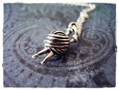 Yarn and Knitting Needles Necklace  Sterling by EvelynMaeCreations, $26.00