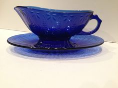 "1 ea Avon ""Royal Sapphire"" Cobalt Blue Gravy Boat with drip dish, France, lot#21 #AvonMadeinFrancebyArcoroc"