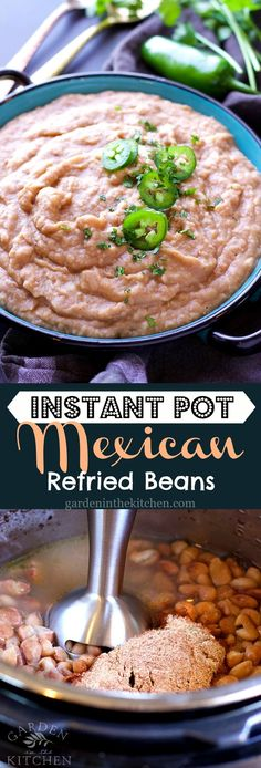 MEGA flavorful Instant Pot Mexican Refried Beans. Take this classic Mexican dish to the next level but making it fresh from scratch!