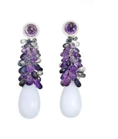 A pair of 'Copacabana' chaledony and gem-set earrings, by Chopard,